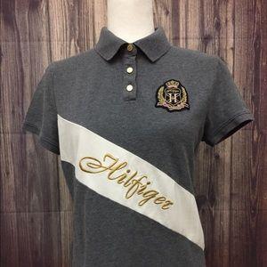 Tommy Hilfiger Polo 👕 Shirt Grey Gold Size L